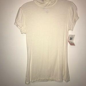 Fleurish white shirt with mock turtleneck